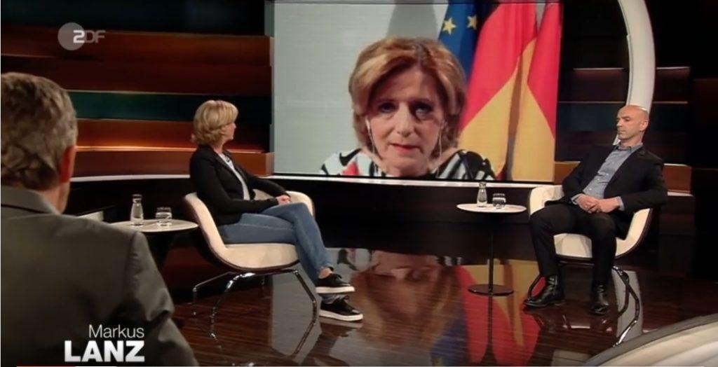 Malu Dreyer in einer Videokonferenz-Schalte bei Markus Lanz